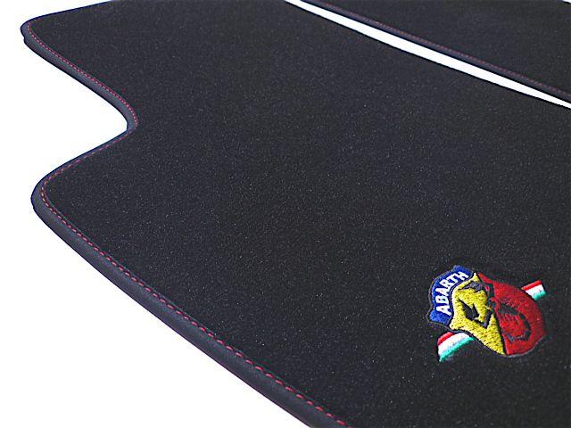 Abarth Fiat 500 2008 2014 Tapis De Sol Velours Noir Logo Abarth