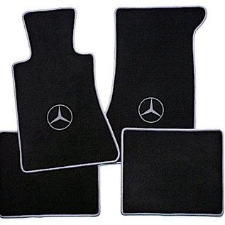 Mercedes-Benz C107 SLC 1971-1981 Floor mat set velours black - grey logo + trim
