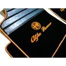 Floor mat set premium velours black - gold logo script + trim Alfa Romeo GTV + Spider 916 1995-2006