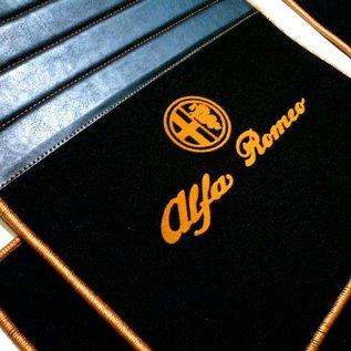 Alfa Romeo GTV + Spider 916 1995-2006 Floor mat set premium velours black - gold logo script + trim