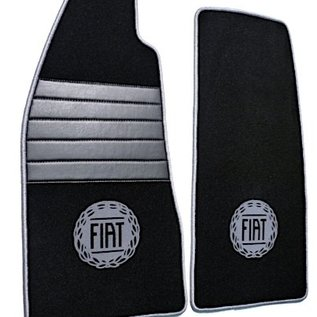 Fiat 124 Spider Floor mat set premium velours black - grey logo + trim
