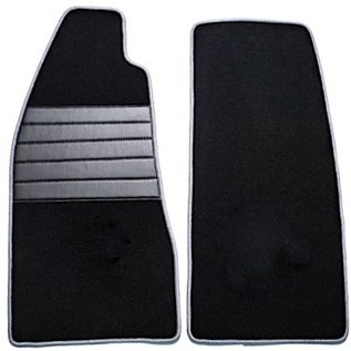Fiat 124 Spider Floor mat set premium velours black - grey trim