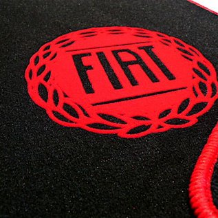 Fiat 124 Spider Floor mat set veloursblack - red logo + trim