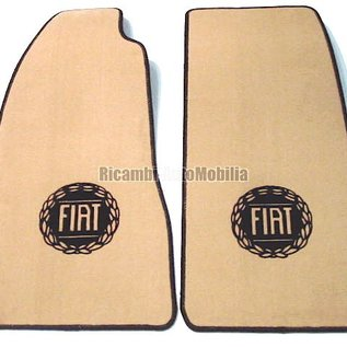 Fiat 124 Spider Floor mat set velours tan - black logo + trim