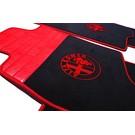 Floor mat set premium velours black-red logo + trim Alfa Romeo Alfetta + GT + GTV + GTV6 1972-1987