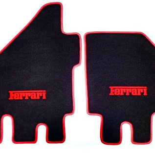 Dino 206 + 246 GT GTS Floor mat setveloursblack - red F script + trim