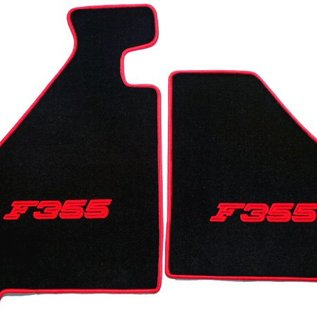 F355 Berlinetta Floor mat set velours black - red script + trim