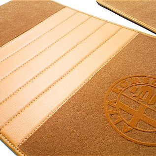 Alfa Romeo ES30 SZ Floor mat set premium velours dark tan - gold logo + trim