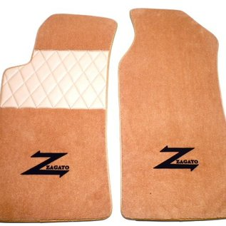 Alfa Romeo ES30 RZ Floor mat set premium velours dark tan - black script + gold trim