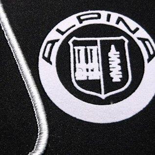 BMW E30 Cabriolet Floor mat set velours black-silver Alpina logo + trim