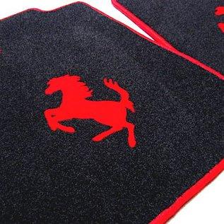 Ferrari 360 Floor mat setveloursblack - red horse + trim