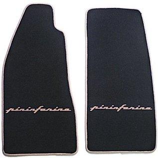 Fiat 124 Spider Floor mat set veloursblack - tan Pininfarinascript + trim