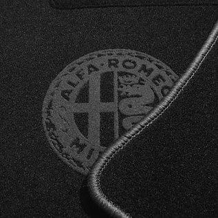 Alfa Romeo Spider Duetto 1966-1969 Floor mat setveloursblack - dark grey Alfa Milano logo