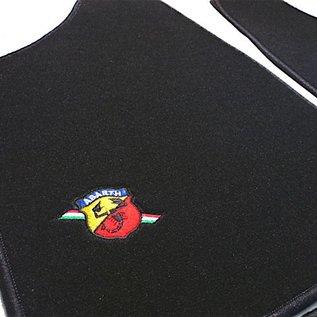 Autobianchi A112 Floor mat set velours black- Abarth logo