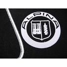 Tapis de sol velours noir-logo Alpina + contours argent BMW E28 5-series 1981-1988