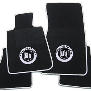 BMW E24 6-series 1976-1989 Floor mat set velours black-silver Alpina logo + trim