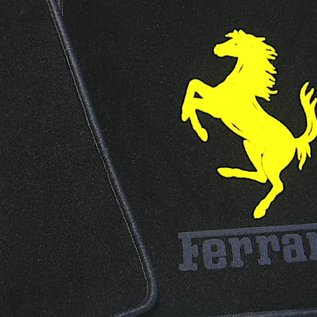 F355 Berlinetta Floor mat set velours black - yellow horse + dark grey script
