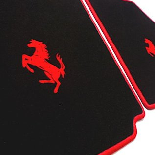 Ferrari 430 Floor mat set velours black - red horse + trim