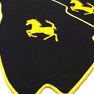 Ferrari 308 GTS Floor mat setveloursblack - yellow horse + trim