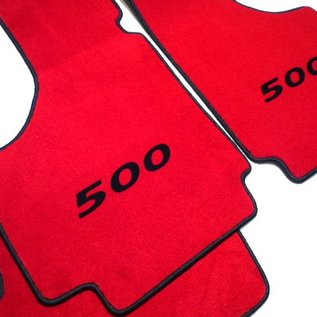 Fiat 500 1957-1975 Floor mat set velours red - black 500 script + trim