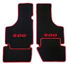 Floor mat set velours black - red 500 script + trim Fiat 500 1957-1975