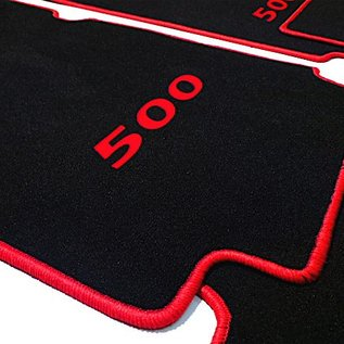 Fiat 500 1957-1975 Floor mat set velours black - red 500 script + trim