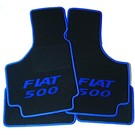 Floor mat set black - blue Fiat 500 script + trim Fiat 500 1957-1975