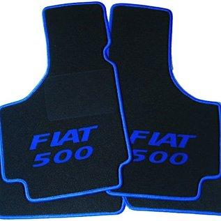 Fiat 500 1957-1975 Tapis de sol noir - sigle Fiat 500 + contours bleu