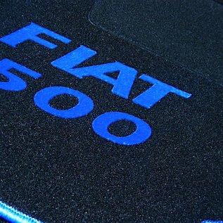 Fiat 500 1957-1975 Floor mat set black - blue Fiat 500 script + trim
