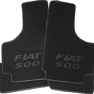 Fiat 500 1957-1975 Floor mat set black - dark grey Fiat 500 script + trim