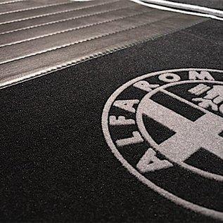 Alfa Romeo 159 + SW 2005-2011 Floor mat set premium velours black - grey logo + trim