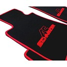 Floor mat set velours black-red ACS logo + trim BMW E30 Cabriolet