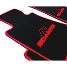 Tapis de sol velours noir-logo ACS + contours rouge BMW E30 Cabriolet