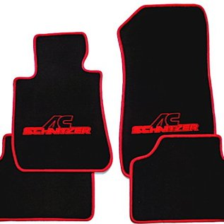 BMW E30 3-series Sedan 1982-1991 Floor mat set velours black-red ACS logo + trim