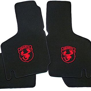 Fiat 600 D Floor mat set velours black-red Abarth logo