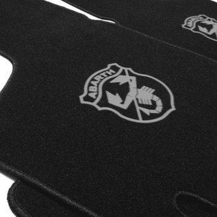 Fiat 600 D Floor mat set velours black-grey Abarth logo