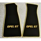 Tapis de sol velours noir - sigle + contours jaune Opel GT 1968-1973