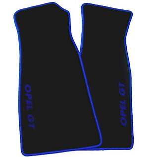 Opel GT 1968-1973 Floor mat set velours black - blue script + trim