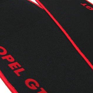 Opel GT 1968-1973 Floor mat set velours black - red script + trim