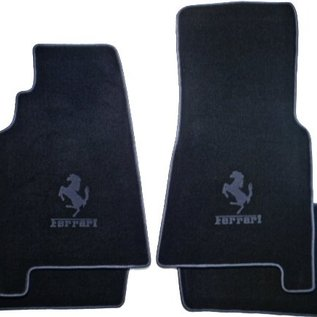 Ferrari 400 Floor mat set velours black - dark grey horse + script +  trim