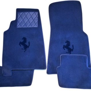 Ferrari 456 GT Manual Tapis de sol premium velours bleu foncé - logo bleu + contours similicuir