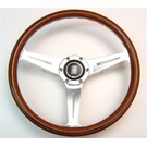 "Steering wheel Nardi ""Classic"" wood + polished spokes + visible screws 36 cms."