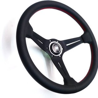"Nardi ""Deep Corn"" black perforated leather + red stitching + black spokes 35 cms. steering wheel"