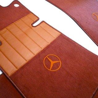 Mercedes-Benz C107 SLC 1971-1981 Floor mat set premium velours siena brown + gold logo