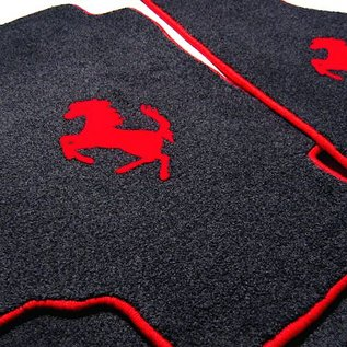 Ferrari Mondial 3.0 QV Cabriolet 1983-1985 Floor mat setveloursblack - red horse + trim