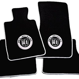 BMW E30 3-series Sedan 1982-1991 Floor mat set velours black-silver Alpina logo + trim