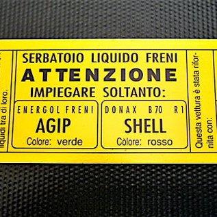 Alfa Romeo Giulietta + 2000 + 2600 Brake fluid decal