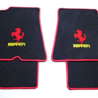 Ferrari California 2009-2011 Floor mat set velours black - red horse + yellow script