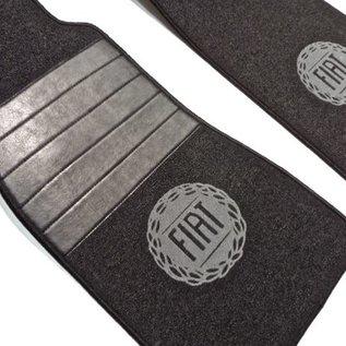 Fiat 124 Spider Floor mat set premiumloop dark grey - grey logo