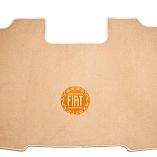Fiat 124 Spider - rear mounted battery Trunk mat velours beige - logo gold + nubuck